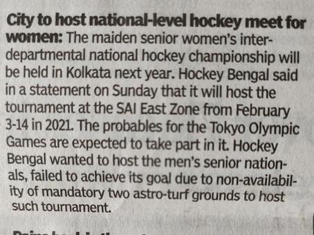 Hockey Bengal's request to host the 1st Hockey India Senior Women Inter Departmental National Hockey
