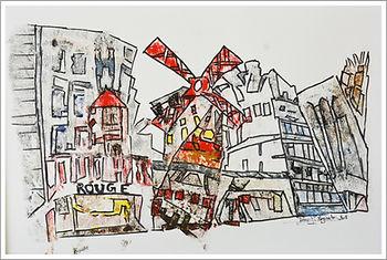 Moulin Rouge - huile et  encre- Dany.M.Reginato Artiste Peintre -