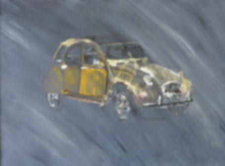 Ma 2CV jaune - huile et  encre- Dany.M.Reginato Artiste Peintre