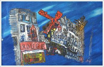 """Paris by night """" le moulin rouge"""" - huile et  encre- Dany.M.Reginato Artiste Peintre"""