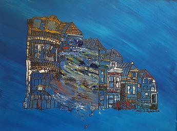 sans titre - huile et  encre- Dany.M.Reginato Artiste Peintre 19.50 - 29 cadre 30-40 AHE.jp