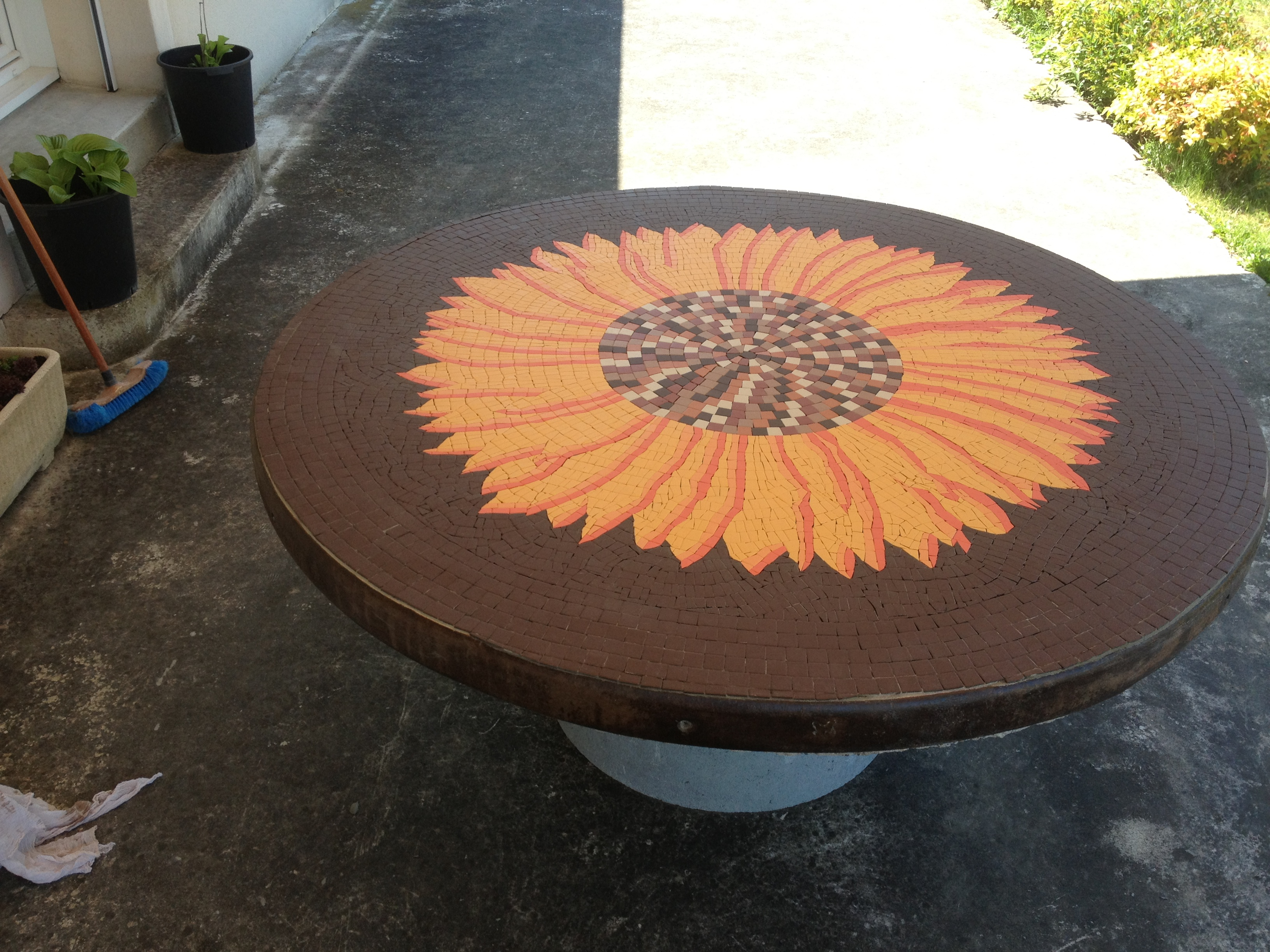 Table Mosaïque tournesol 2m