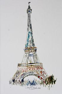 Tour Eiffel, Dany.M.Reginato,Artiste,Paris,peintre,bleu,huile, acrylique,drôme,Montéléger,France,papier,Portugual,Exibitions,Exposition,Oeuvre, Paris