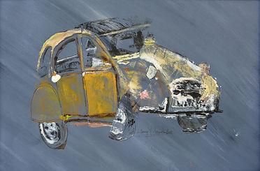 Ma 2CV déstructurée - huile et  encre- Dany.M.Reginato Artiste Peintre