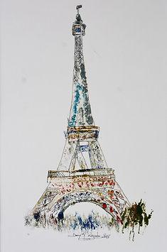 Ma_Tour_Eiffel_n°1_- huile et  encre- Dany.M.Reginato Artiste Peintre