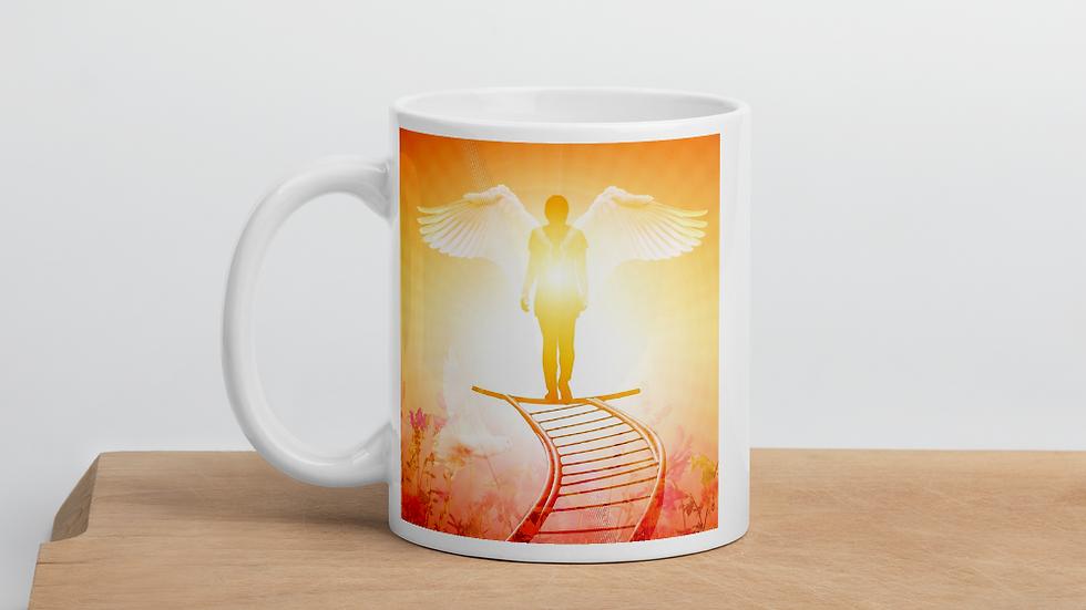 Angel standing in the light of God-Mug