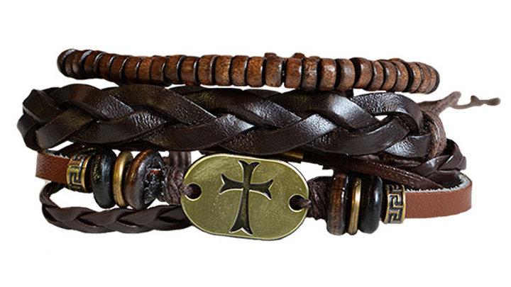 Faith Gear Guy's Bracelet Set - Gold Cross