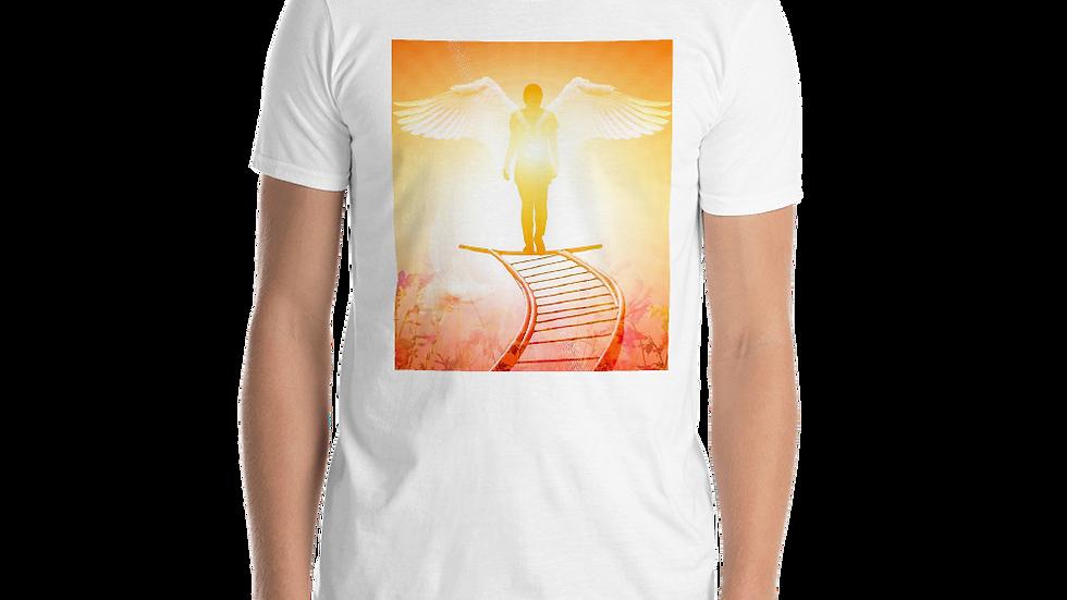 Angel standing in light of God- Mens Shirt
