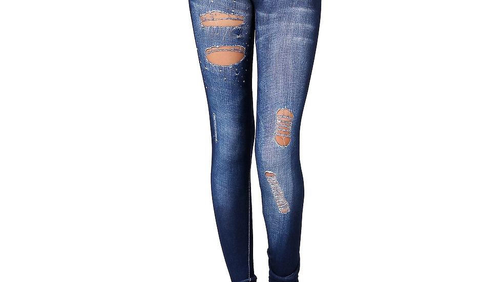 One Size Denim Print Jeggings Leggings Stretch Sexy Pencil Pants