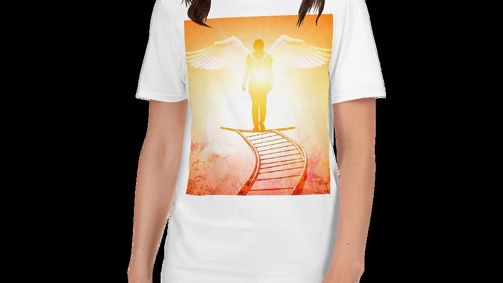 Angel standing in light of God- Women's Shirt