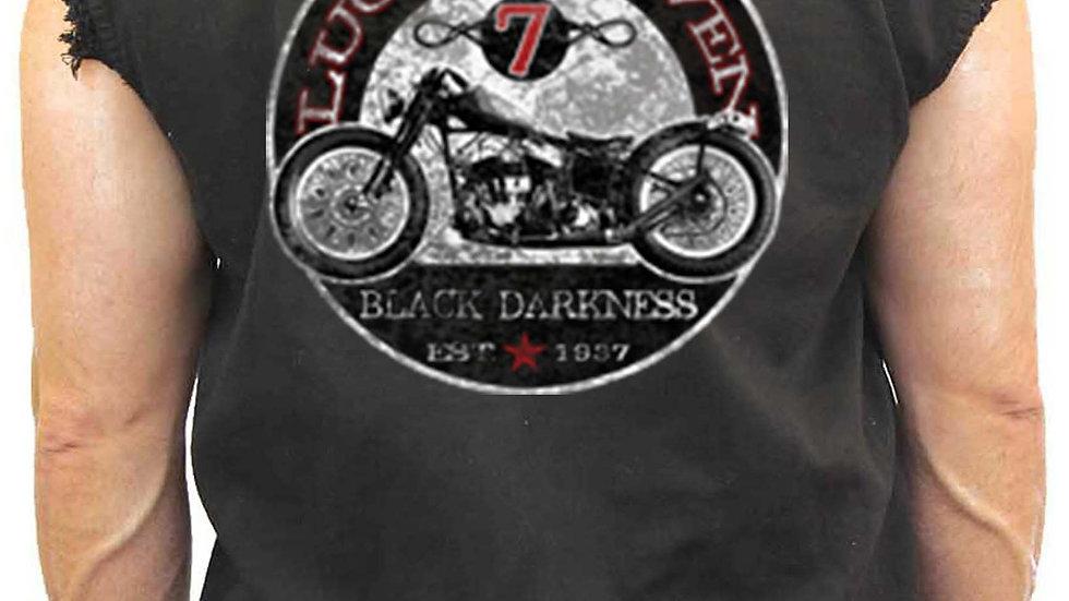 Men's Sleeveless Denim Shirt Lucky Seven Black Darkness