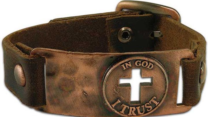 In God I Trust - Leather Christian Bracelet