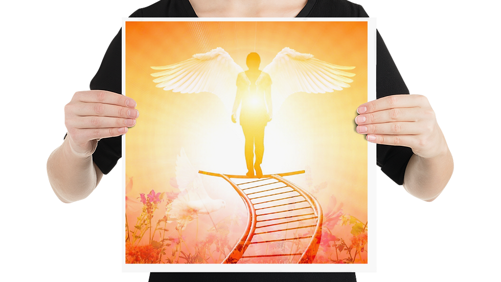 Angel standing in the light of God- Poster