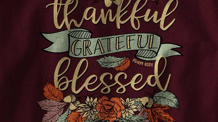 Cherished Girl Womens Long Sleeve T-Shirt Thankful Grateful Blessed