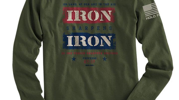 HOLD FAST Mens Long Sleeve T-Shirt Iron Sharpens Iron