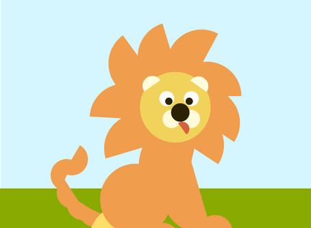 Le lion avec des ronds et demi-ronds.