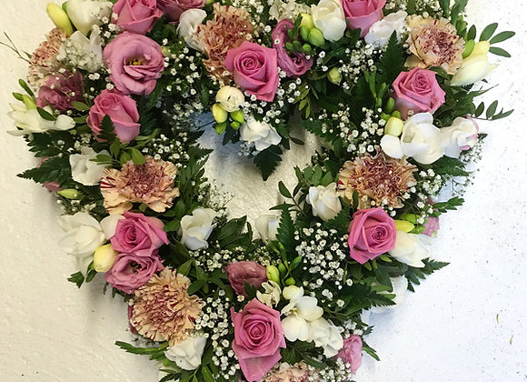 Pink Open Loose Heart Funeral Wreath