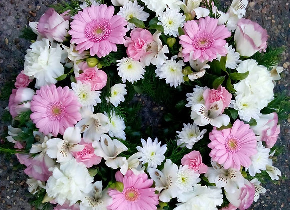 Pink & White Open Loose Funeral Wreath
