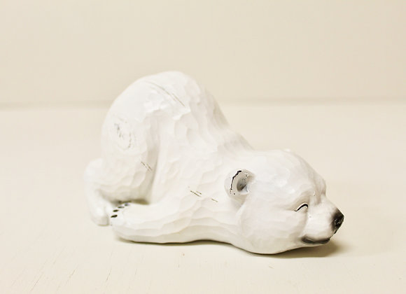 Wooden Sleeping Polar Bear