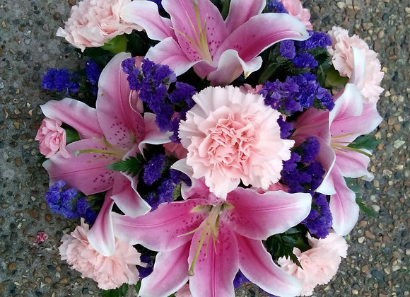 Pink Lily & Purple Funeral Posy