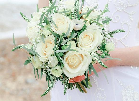 Cream Rose & Veronica Bridal Bouquet