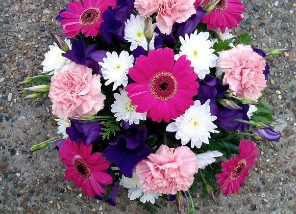 Bright Pink & Purple Funeral Posy