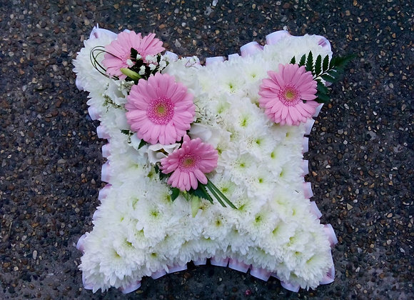 Pink Based Funeral Cushion