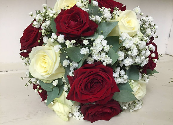 Deep Red Rose Bridal Bouquet