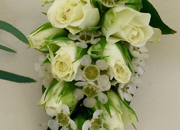 White Rose & Wax Flower Body Corsage