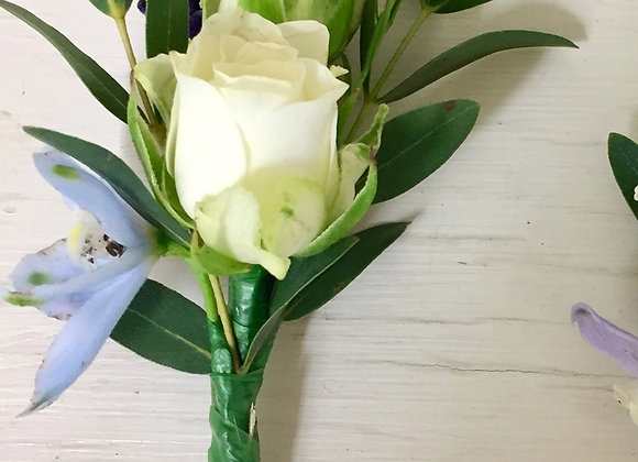 Spray Rose & Delphinium Buttonhole