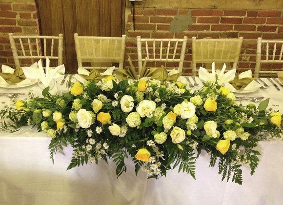 Lemon Rose & Lisianthus Top Table Arrangement