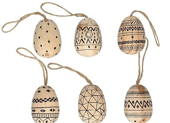 Bohemian Wooden Egg Set