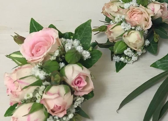 Pale Pink Rose & Gypsophila Body Corsages
