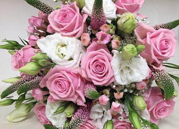 Soft Pink Rose & Veronica Bridal Bouquet
