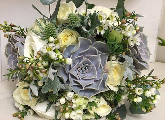 Succulent & Wax Flower Bridal Bouquet