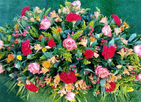 Red Carnation & Rose Coffin Spray