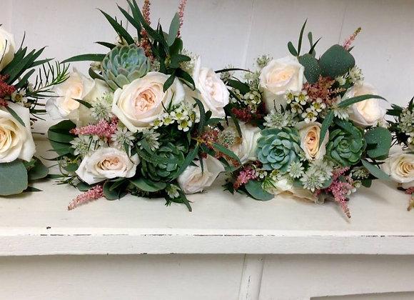 Succulent & White Rose Bridesmaid Bouquets