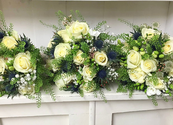 Cream Rose & Eryngium Bridesmaid Bouquets