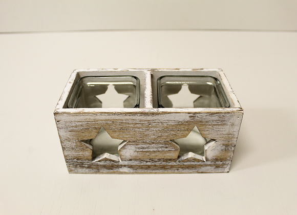 Rustic Wooden Candle Holder