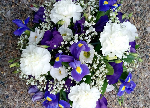 Blue & White Funeral Posy