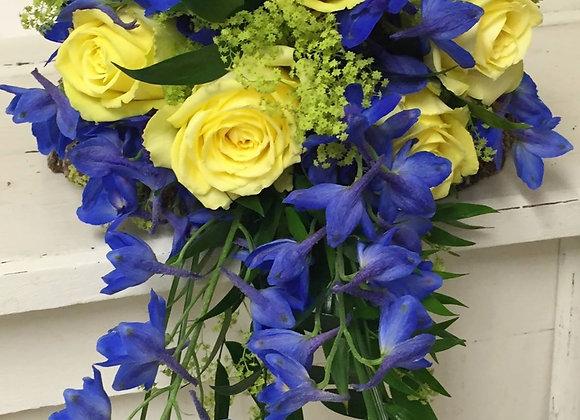Royal Blue Delphinium & Rose Bridal Shower Bouquet