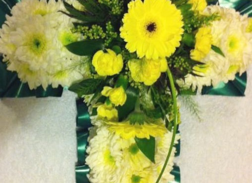Lemon & Cream Based Funeral Cross
