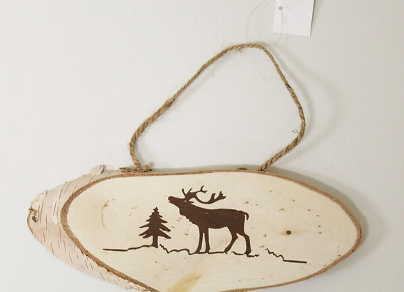 Wooden Reindeer Burnt Christmas Decoration