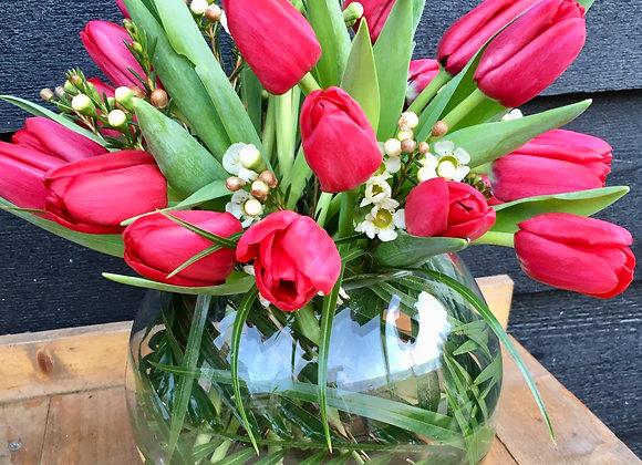 Red Tulip Fishbowl