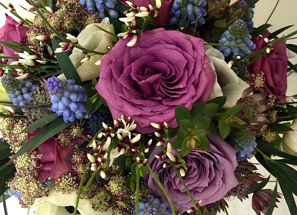 Muscari & Lilac Rose Bridal Bouquet