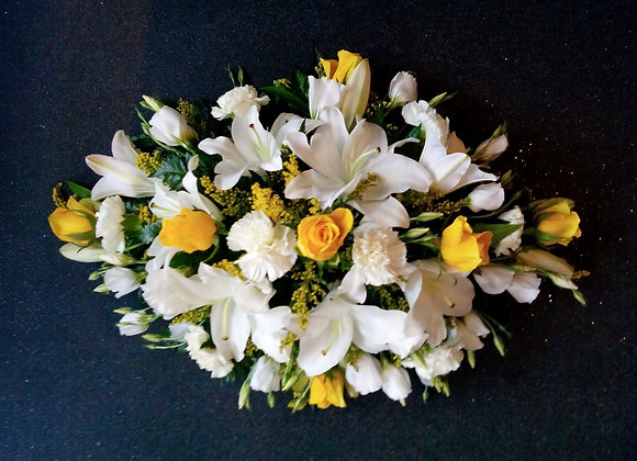 Pearl White & Yellow Rose Coffin Spray