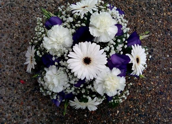 White Germini & Purple Funeral Posy