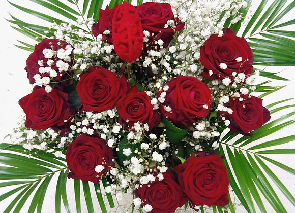 12 Red Roses & Gypsophila Bouquet