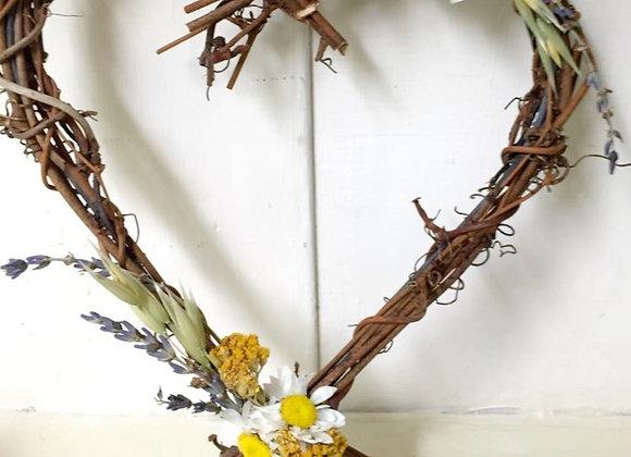 Dried Flower Wicker Heart