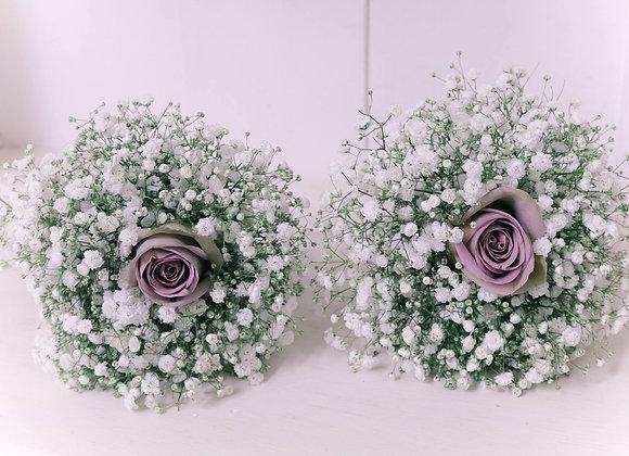 Gypsophila & Rose Bridesmaid Bouquets